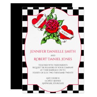 Rockabilly Herzen und Rosen-Hochzeits-Einladung Karte