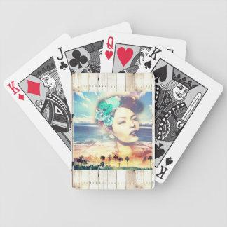 Rockabilly Kalifornien-Palmen-Küstensommer-Frau Bicycle Spielkarten