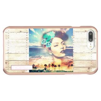 Rockabilly Kalifornien-Palmen-Küstensommer-Frau Incipio DualPro Shine iPhone 7 Plus Hülle