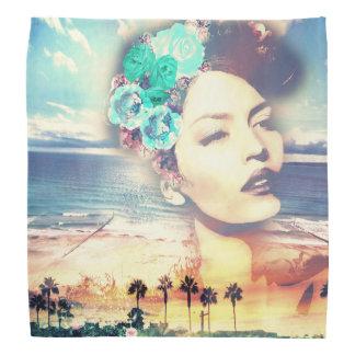 Rockabilly Kalifornien-Palmen-Küstensommer-Frau Kopftuch