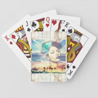 Rockabilly Kalifornien-Palmen-Küstensommer-Frau Spielkarten