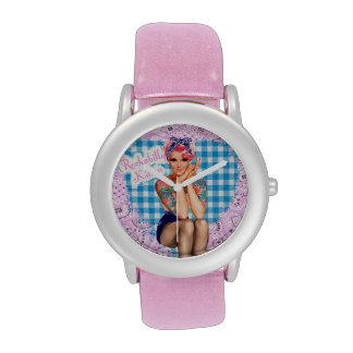 Rockabilly Kätzchen-Uhr Handuhr