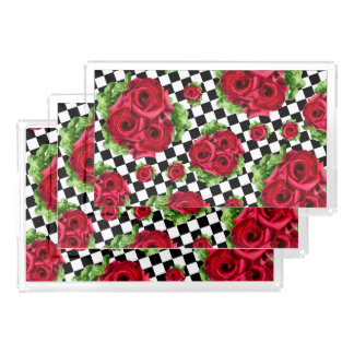 Rockabilly Rosen-Blumenstrauß-BlumenLiebe Acryl Tablett