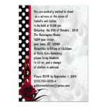 Rockabilly Rosen und Polka-Punkte Goth Hochzeit 12,7 X 17,8 Cm Einladungskarte