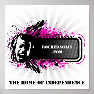 RockedAgain.com-Logo auf Plakat