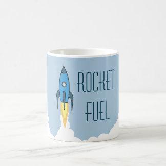 Rocket-Brennstoff-blauer Retro Cartoon Rocketship Kaffeetasse