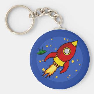 Rocket rotes gelbes Keychain Schlüsselanhänger