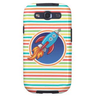 Rocket-Schiff Helle Regenbogen-Streifen Galaxy S3 Etui