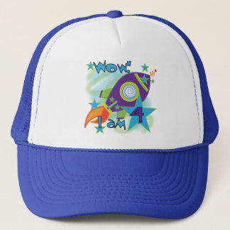 Rocket-Schiffs-4. Geburtstags-T - Shirts und Truckerkappe