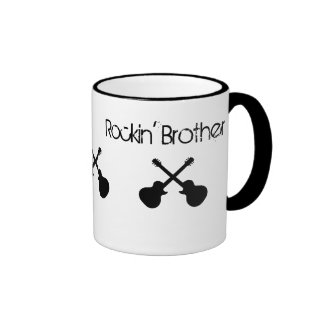 "Rockin ""Bruder, gekreuzte schwarze Gitarren Ringer Tasse"