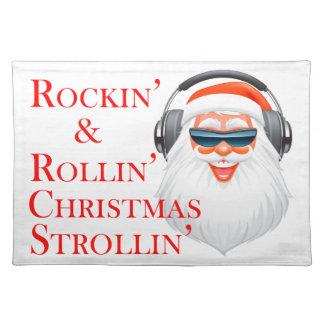Rockin cooler Weihnachtsmann mit Kopfhörern Stofftischset