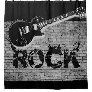 Rockmusikgitarrenschwarzes showercurtain duschvorhang
