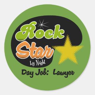Rockstar bis zum Nacht - Tagesjob-Rechtsanwalt Runder Aufkleber