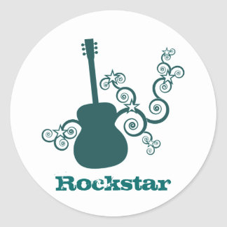 Rockstar Gitarren-Aufkleber, dunkles aquamarines Runder Aufkleber
