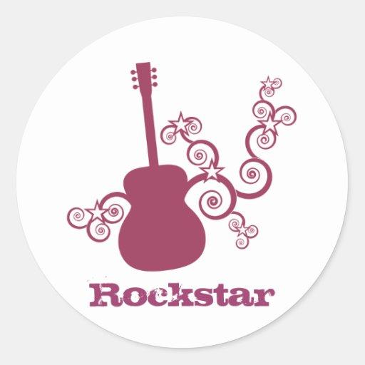 Rockstar Gitarren-Aufkleber, Fuchsie