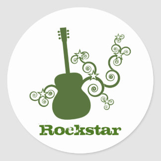 Rockstar Gitarren-Aufkleber grün