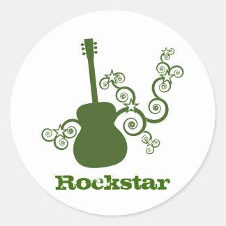Rockstar Gitarren-Aufkleber, grün Runder Aufkleber