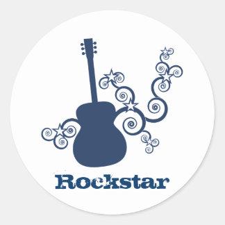 Rockstar Gitarren-Aufkleber, Königsblau Runder Aufkleber