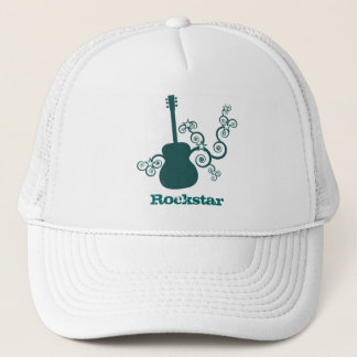 Rockstar Gitarren-Hut, dunkles aquamarines Truckerkappe