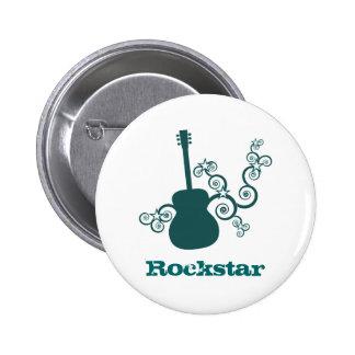 Rockstar Gitarren-Knopf, dunkles aquamarines Anstecknadelbuttons