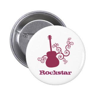 Rockstar Gitarren-Knopf, Fuchsie Runder Button 5,7 Cm