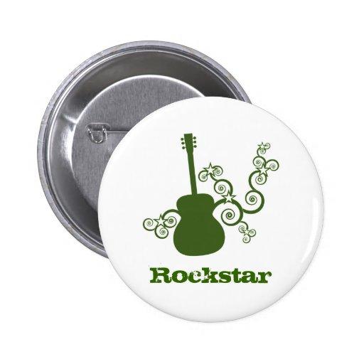 Rockstar Gitarren-Knopf, grün Anstecknadelbutton