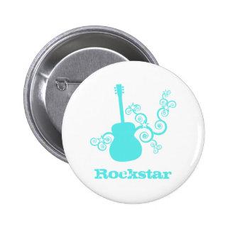 Rockstar Gitarren-Knopf, heller Türkis Buttons