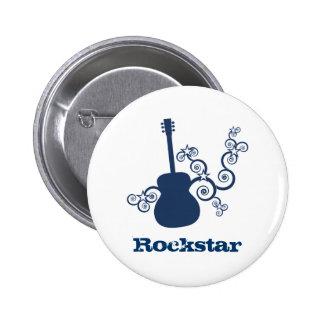 Rockstar Gitarren-Knopf, Königsblau Runder Button 5,1 Cm