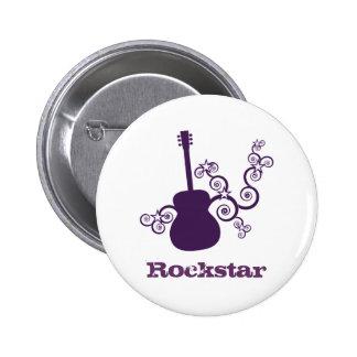 Rockstar Gitarren-Knopf, lila Runder Button 5,7 Cm