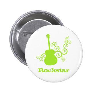Rockstar Gitarren-Knopf, Limones Grün Runder Button 5,1 Cm