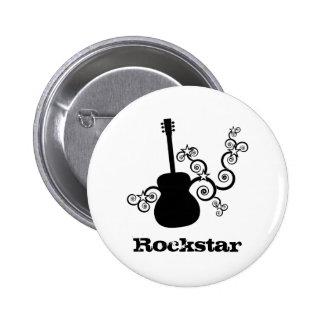 Rockstar Gitarren-Knopf Runder Button 5,7 Cm