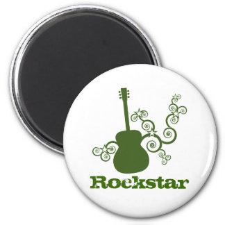 Rockstar Gitarren-Magnet, grün Runder Magnet 5,1 Cm