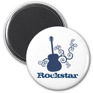 Rockstar Gitarren-Magnet, Königsblau Runder Magnet 5,1 Cm