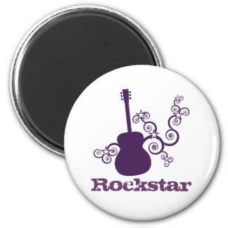 Rockstar Gitarren-Magnet, lila Runder Magnet 5,7 Cm