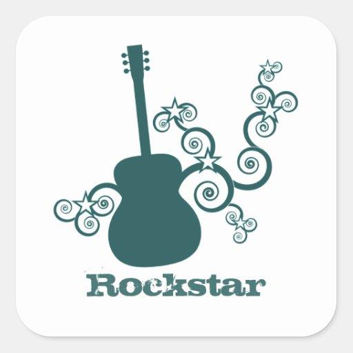 Rockstar Gitarren-Quadrat-Aufkleber, aquamarin