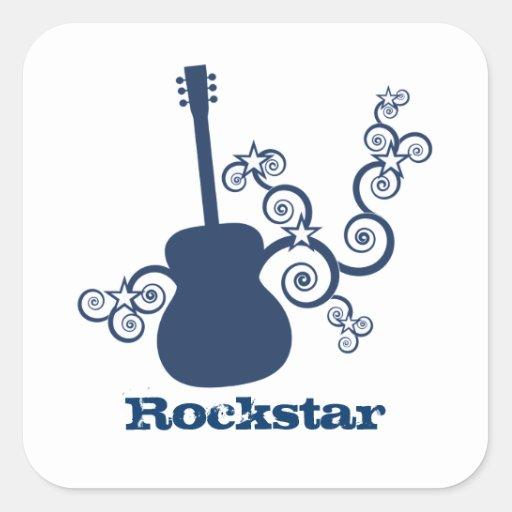 Rockstar Gitarren-Quadrat-Aufkleber, blau