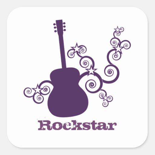 Rockstar Gitarren-Quadrat-Aufkleber, lila