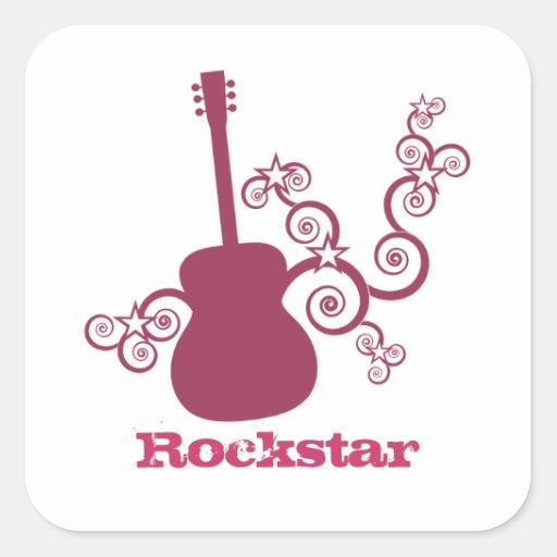 Rockstar Gitarren-Quadrat-Aufkleber, magentarot