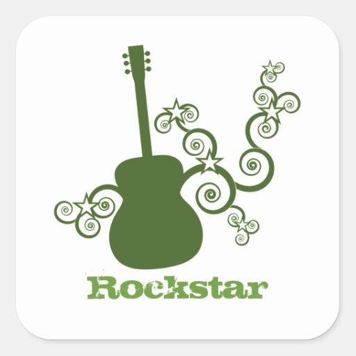 Rockstar Gitarren-Quadrat-Aufkleber, Olivgrün