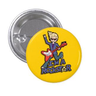 Rockstar Gitarrenjungen-Gelbknopf Runder Button 2,5 Cm
