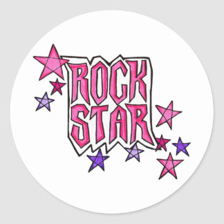 RockStar im Rosa Runder Sticker
