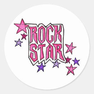 RockStar im Rosa Runder Aufkleber