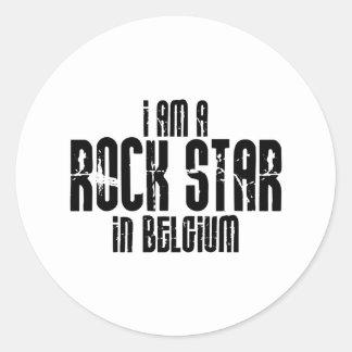 Rockstar in Belgien Runder Aufkleber