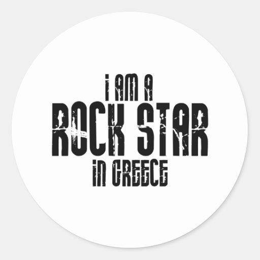 Rockstar in Griechenland Runder Sticker