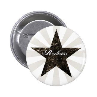 Rockstar Knopf (Schmutzbeschaffenheiten - Dunkelhe Runder Button 5,1 Cm