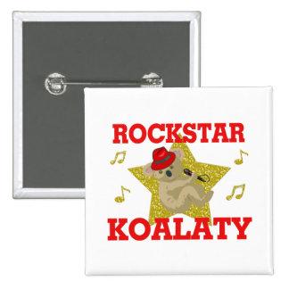 Rockstar Koalaty Gesang-Party-Tier Quadratischer Button 5,1 Cm