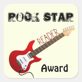 Rockstar-Leser-Preis-Aufkleber Quadratischer Aufkleber