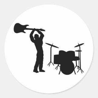 Rockstar Trommel-Gitarre Smasher Runder Aufkleber