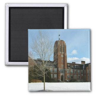 Rockwell im Winter an der Waldungs-Stadt-Uni Quadratischer Magnet