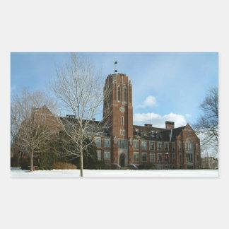 Rockwell im Winter an der Waldungs-Stadt-Uni Rechteckiger Aufkleber
